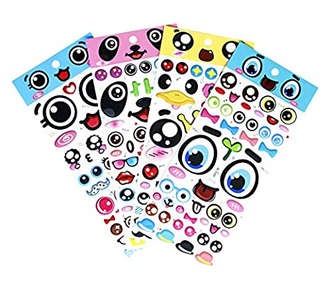 Big Eyes Stickers with Lips, Glasses, Beard, Ties PVC Foam Eyes Decals for Craft Card Making - 140