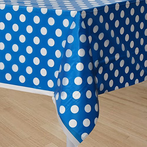 My Party Suppliers Lime Royal Blue Polka Dot Plastic Table Cloth / Party Table Cover /, Party Supplies , Theme Birthday Party , Kids Party Supplies , Table Covers , Table Cloth (BLue)