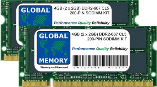 4GB (2x 2GB) DDR2667MHz PC2-5300200-PIN SODIMM Speicher RAM KIT für MacBook (Ende 2006-MITTE/ENDE 2007-ANFANG/ENDE 2008-ANFANG 2009) & MacBook Pro (Ende 2006-MITTE/ENDE 2007-ANFANG 2008) -
