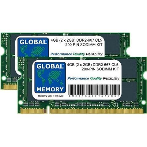 4GB (2 x 2GB) DDR2 667MHz PC2-5300 200-PIN SODIMM MEMORIA RAM KIT PARA MACBOOK (PRINCIPIOS DE 2006 - MEDIADOS/FINALES DE 2007 - PRINCIPIOS DE/FINALES DE 2008 - PRINCIPIOS DE 2009) & MACBOOK PRO (FINALES DE 2006 - MEDIADOS/FINALES DE 2007 - PRINCIPIOS DE