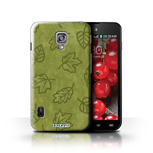 Kobalt® Imprimé Etui / Coque pour LG Optimus L7 II Dual / Pourpre conception / Série Motif Feuille/Effet Textile Vert