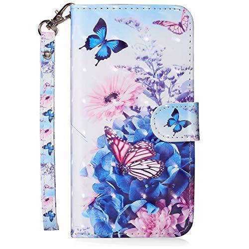 MoreChioce kompatibel mit Galaxy S5 Hülle,kompatibel mit Galaxy S5 Neo Klapphülle, 3D Glitzer Ledertasche Schmetterling Blume Bling Funkeln Schutzhülle Handytasche Magnetverschluß,EINWEG