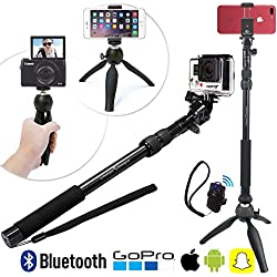 HD Selfie Stick & Treppiede 3-in-1 Paccetto Universale con Bluetooth per iPhone 7 Plus / 6, GoPro Hero5, Samsung Galaxy e macchina fotografica | Camera Pole Monopod & Tripod