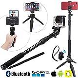 Universel HD Selfie Stick Bâton & Trépied avec Bluetooth pour GoPro/iPhone/Samsung 3-en-1 Photo/Vidéo Paquet – Universal: Tout Smartphone, GoPro ou petite caméra – iPhone 7 Plus, 7, 6+, 6, 5SE, 5S, 5C, 4S, 4 etc., Samsung Galaxy, S8, S8+, S7, S7+ etc., GoPro Hero5 Black, Session, Hero 5/43 etc., Et tour Appareil Photo Nunumérique Digital Camera // SelfieStick with Mini Tripod & Wireless Remote Télécommande – The SelfieStand