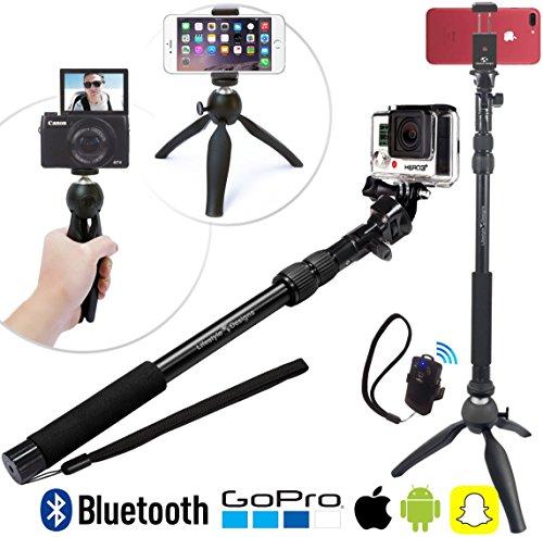 HD Selfie Stick & Treppiede 3-in-1 Paccetto Universale con Bluetooth per iPhone 7 Plus / 6, GoPro Hero5, Samsung Galaxy e macchina fotografica | Camera Pole Monopod & Tripod