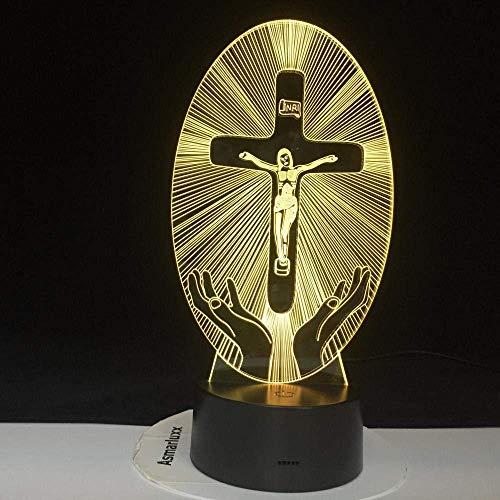 Christliches Hologramm geführtes Nachtlicht Jesus Religion Stand Kreuzvisualisierung Kruzifix Bibel Christliches 3D geführtes Licht