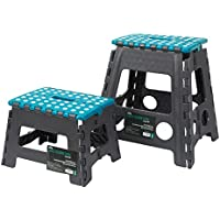 JVL Small and Large Folding Step Stool, Plastic, Teal