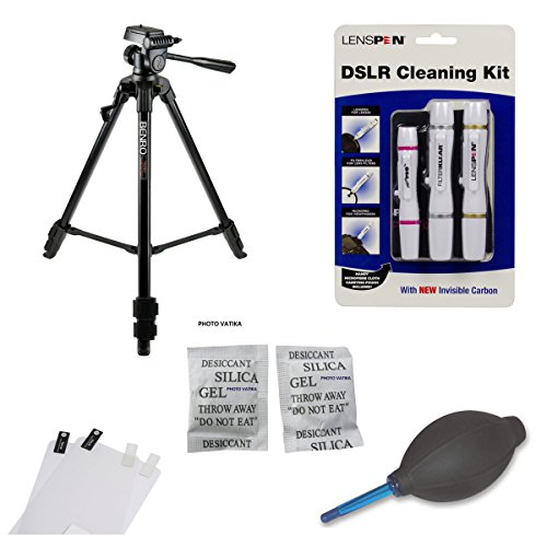 Tripod Accessory Kit for Nikon D5500 Including Benro T600 EX Tripod , Lenspen Elite Kit, Lenspen HB-1 Blower, Screen Protector and Silica gel ( 20 Packs of 5 gm each)