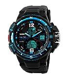 Reloj analógico y digital con diseño deportivo para hombre, impermeable con alarma y esfera grande con luz LED de fondo