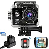 Meerveil Caméra d'Action 4K Caméra Sport 1080P WiFi 16MP Capteur CMOS Sony Ultra HD Caméra Etanche,avec 2 1050mAh Batterie, étui de transport et inclut des Kits Complets d'Accessoires