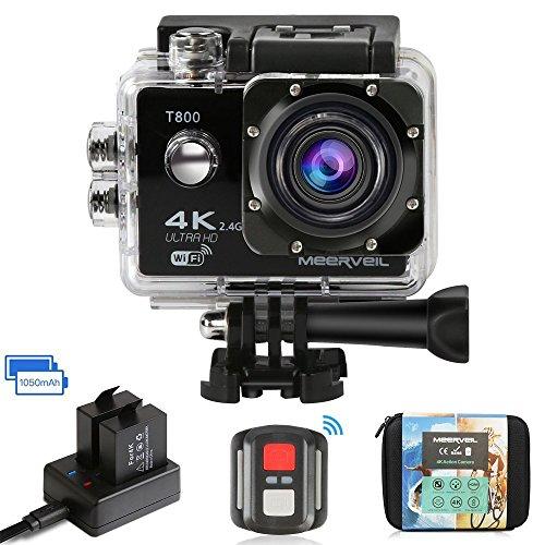 Meerveil T800 4K Action Kamera WiFi Sport Kamera Camcorder 30M Wasserdicht Unterwasserkamera Helmkamera 16MP 170 Grad Weitwinkel mit 2 1050mAh Akkus und Accessoires Kits (Remote Erweiterbar)