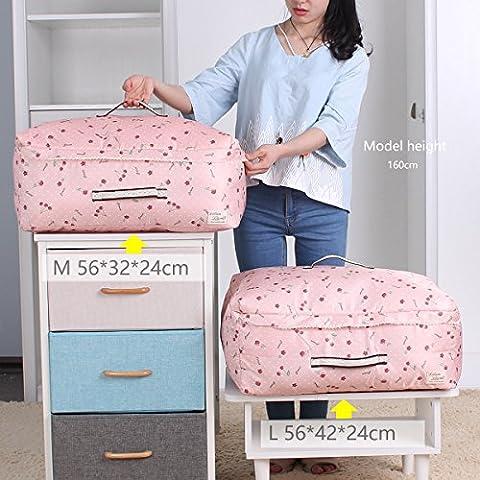 sivin Cherry Pink 2Größe (L + M) dreilagige Struktur Material aus Mikrofaser Aufbewahrungstasche zusammenklappbar Organizer Tasche für kuschelige Decke Kleidung Aufbewahrung, Mikrofaser, Rosa (Cherry Pink), Set (1Pc L+1Pc M)