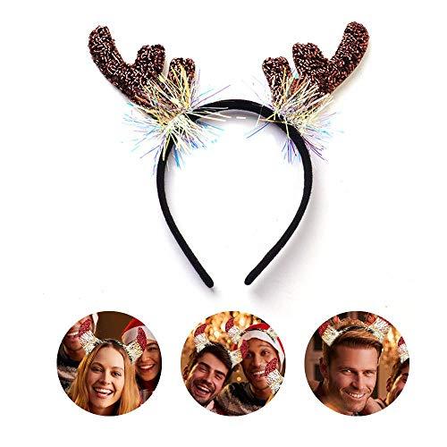 Alte Kostüm Santa Zeit - WooyMo Weihnachten Santa Stirnbänder, Hirschgeweih Hut Haar Reifen für Weihnachten Urlaub Neujahr Dekoration