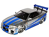 Nissan Skyline GT-R R34 Silber Brian´s Paul Walker The Fast and the Furious 1/24 Jada Modell Auto