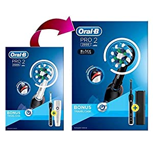 Oral-B Pro 2 2500 CrossAction Electric Toothbrush Rechargeable Powered by Braun, 1 Black Handle, 2 Modes Including Gum Care, 1 Toothbrush Head, Travel Case, 2-Pin UK Plug, Colour May Vary