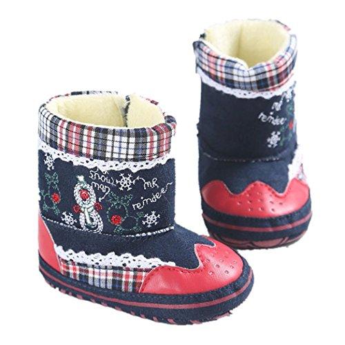 Clode® Baby Kleinkind Baby Schneemann Druck weiche alleinige Kri Schuhe Säuglingsjunge Mädchen Schuhe Rot
