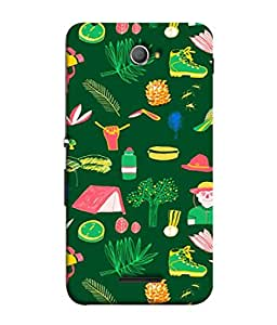 Snapdilla Designer Back Case Cover for Sony Xperia E4 :: Sony Xperia E4 Dual (Illustration Wallpaper Backcover Green Bird Leaf House Men)