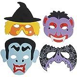 German Trendseller® - 4 x halloween masques en mousse/pour enfants/citrouille, vampire, Frankenstein, chauve-souris