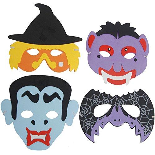 - 4 x Halloween Masken ┃ Schaumstoff Masken┃ für Kinder ┃ Hexe ┃ Vampir ┃ Fledermaus ┃ Graf Dracula (Halloween Vampir Maske)