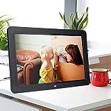 Cornice fotografica digitale, Full HD 12 pollici ad alta risoluzione 1280 x 800 Ultra Sottile Musica / Video / EBook / Orologio / Supporto calendario / Scheda SD 32G Cornice elettronica con telecomand(Nero)