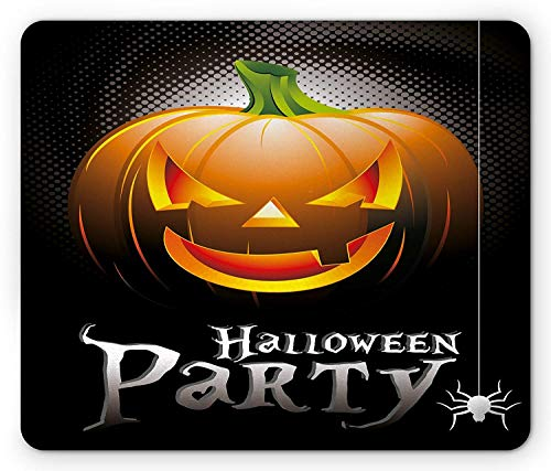se Pad, Halloween Party Theme Scary Pumpkin on Abstract Modern Backdrop Spider, Standard Size Rectangle Non-Slip Rubber Mousepad, Silver Black Orange ()