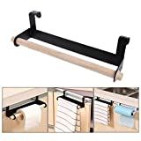 #10: Happy2Buy Stylish Paper Towel Holder/Kitchen Roll Paper Holder/Hooks Punch-free Towel Holder/Kitchen Towel Holder Roll Paper Storage Rack Tissue Hanger Under Cabinet Door/ Can Be Used As A Hanger Storage For Bedroom Or Toilet To Organize Ties, Belts, Scarves Etc.. (Color May Vary in Between Black & White)