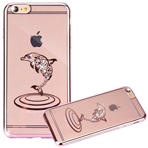 iPhone 7 Hülle, iPhone 7 Case, Felfy iPhone 7 Fashion Luxus Ultra Slim Galvanotechnik Soft Gel TPU Silikon Gel Schmetterling Blumen Gold Muster Glitter Bling Schein Glänzenden Kristall Rhinestone Diam Diamant Delphin