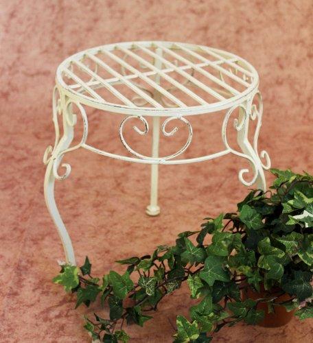 Schmiedeeisen Beistelltisch (DanDiBo Blumenhocker Metall Weiß Rund 30 cm Blumenständer 20218 Pflanzenständer Beistelltisch Klein)