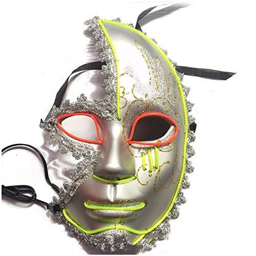 SPFAZJ Halloween guter Qualität EL kaltes Licht leuchten Maske halbe Gesicht Maskenball Leistung Nudeln