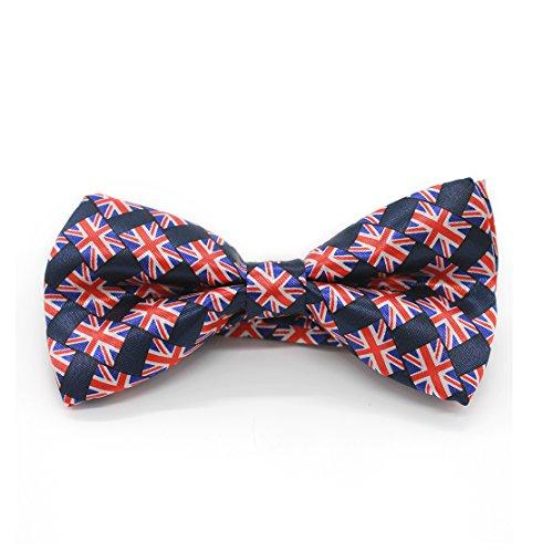 Braun Union Jack (Silk Finish Mode Fliege. Pre-band Elastic Dicky für Hochzeiten (Union Jack))