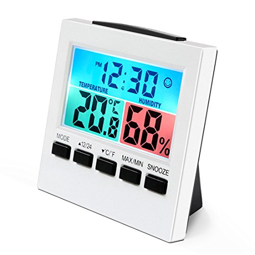 Thermometer Hygrometer, Wrcibo Innen Digitales Thermo-Hygrometer Raumklimakontrolle Raumluftüerwachtung Temperatur und Luftfeuchtigkeitmessgerät mit Alarm Wecker und Großer LCD-Bildschirm, Weiß