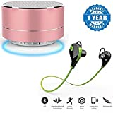 Captcha P10 Wireless 3W Super Bass Mini Metal Aluminium Alloy Portable Bluetooth Speaker With Mic With Wireless Sports Headphones With Mic (One Year Warranty)