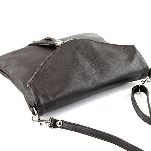 borsa di pelle ital. pochette pochette borsa tracolla Ragazze T139 piccola pelletteria T139 Dunkelbraun