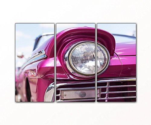 DEINEBILDER24 - Wandbild XXL Scheinwerfer altes Auto, Oldtimer 3- teilig 80 x 125 cm auf Leinwand...