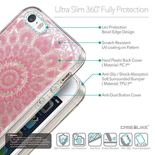 CASEiLIKE Kunst des Schädels 2522 Ultra Slim Back Hart Plastik Stoßstange Hülle Cover for Apple iPhone SE +Folie Displayschutzfolie +Eingabestift Touchstift (Zufällige Farbe) 2062