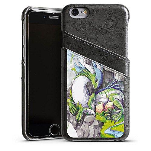Apple iPhone 5s Housse Étui Protection Coque Dragon Imagination Rêve Étui en cuir gris