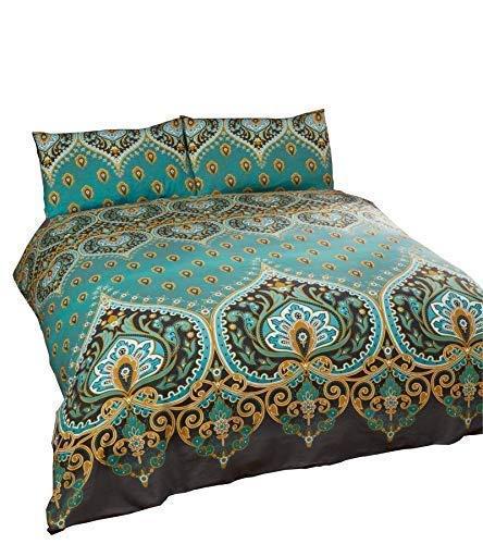 Indisch Henna Stil Grün Blaue Baumwolle Mischung Breites Doppelbett (Uni Dunkelgrau Passendes Leintuch - 180 X 200CM + 25) 4-tlg. Bettwäsche Set - Blaue Baumwolle Mischung