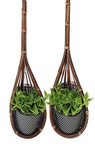 Proudnature Lot de 2 fauteuils de jardin decoration bambou tressé pour pots de fleurs suspendus Pot Ø3).