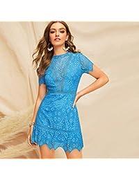 7d41b9d2450 XGDLYQ Nouvelle Mode Bleu Dos Ouvert en Dentelle Guipure Robe Courte Femmes  d été col