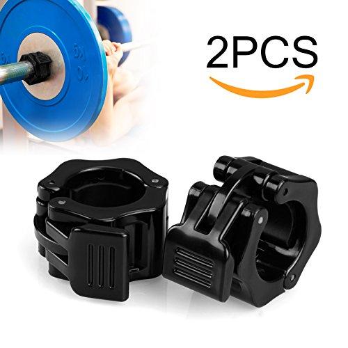 Mopalwin Barra abrazadera, Abrazaderas de topes para barras, ABS Control collares la aptitud del entrenamiento (1 par), para Barras de mancuerna diámetro de orificio 30 mm(negro)
