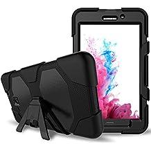 Samsung Galaxy Tab A 7.0Caso (sm-t280/T285), 3in1Heavy Duty a Prueba de Golpes Rugged Armor tres capa duro PC + silicona híbrido impacto resistente al Defensor de cuerpo completo protector carcasa con función atril con Protector de pantalla negro
