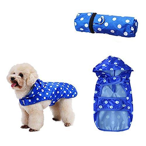 Roblue Hunde Regenjacken Haustier Wasserdichte Regenmantel Blau Wellenpunkt Katze Welpen Regenschutz Kleidung
