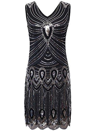 Kayamiya Damen 1920er Perlen Pfau-Muster Pailletten Fransen Gatsby Flapper Kleider M Schwarz (Pailletten Kleid Schwarz)