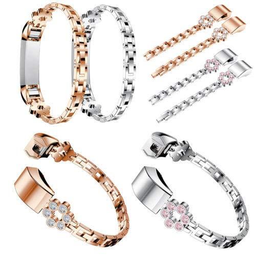 K8U156 @FATO Bakeey Metall Fshion Diamant-Uhr-Band-Bügel-Ersatz für Fitbit Alta/HR
