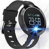 KLE Big Screen Blutdruck Armband Bluetooth Telefon Sport Schrittzähler Wasserdicht Runden Bildschirm Armband Smart Watch (Farbe : SCHWARZ)