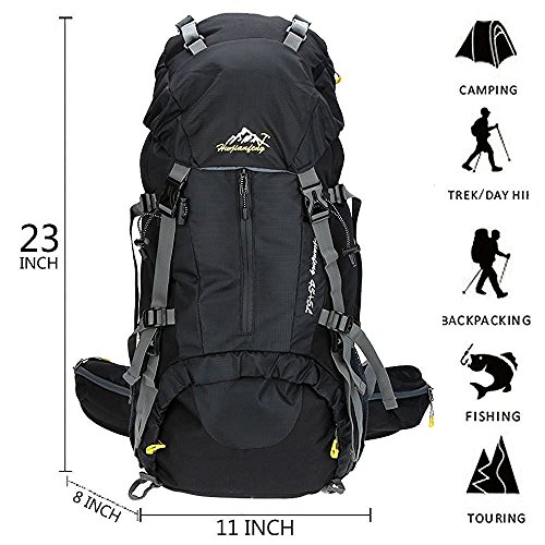 50L Hiking Daypacks Outdoor Sports Backpack Hiking Backpack Backpacking Bags Water-resistant Bag for Camping Fishing Travel Climbing Mountaineering Cycling Skiing black