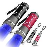 UV Lampe & Schlüsselanhänger Taschenlampe, Morpilot 2 St. 12 LED UV + 2 St. Mini Taschenlampe, 395nm, Detektor für unechte Banknoten, Urin und Flecken von Haustiere, für Haushalt und Outdoor Survival