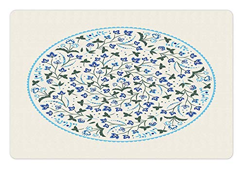 Jacobean Pet Mat for Food and Water Summer Floral Composition with Pale Backdrop Victorian Swirls Rectangle Non-Slip Rubber Mat for Dogs and Cats Beige Navy Blue Reseda Green 23.6 By 15.7 Inch