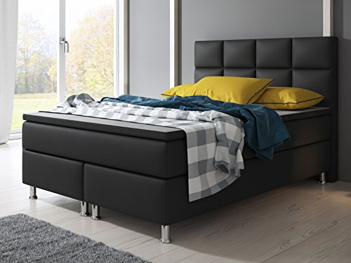 Boxspringbett MIAMI Hotelbett Betten 140×200 cm oder 180×200 cm mit Visco Topper (Schwarz, 140×200 cm)