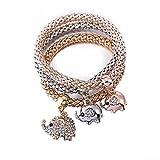Las mujeres encanto pulsera tres conjuntos de aleación de zinc multicolor Zircon pulsera de elefantes envejecido chapado en oro pulsera de cadena de cuerpo joyas